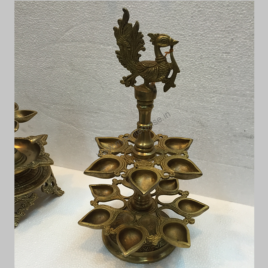Peacock Diya Hindu religious gift of brass