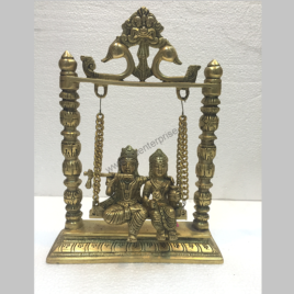 Radha Krishna Statue with Swing Jhula in Brass