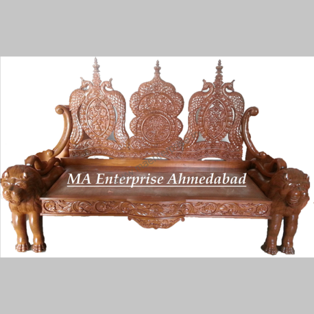 Traditional Indian Wooden Carved Sofa