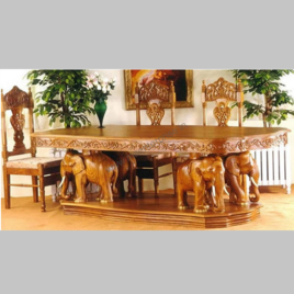 indian carved dining table. elephant theme wooden hand carved dining table indian