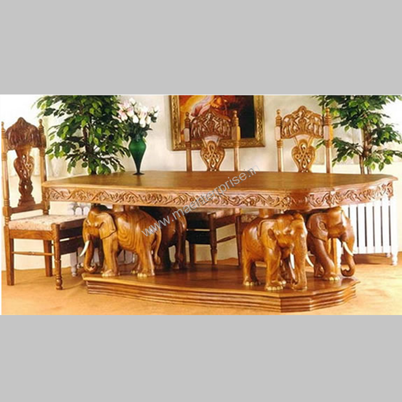 Elephant Theme Wooden Hand Carved Dining Table