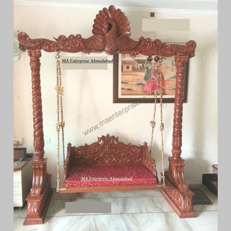 Handmade and Indoor hancrved wooden peacock theme swing