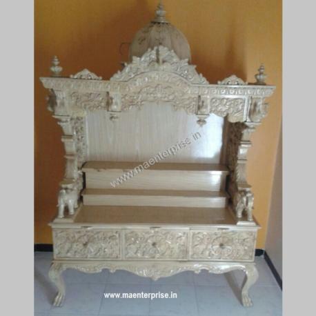 White Wooden Mandir for Home
