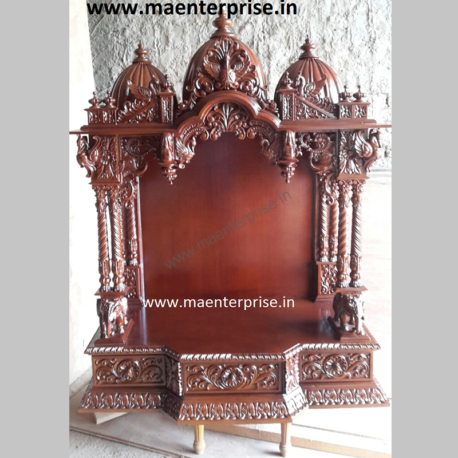Carved Wooden Temple for Pooja Room