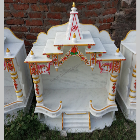 Pure White Makrana Marble Temple for Home