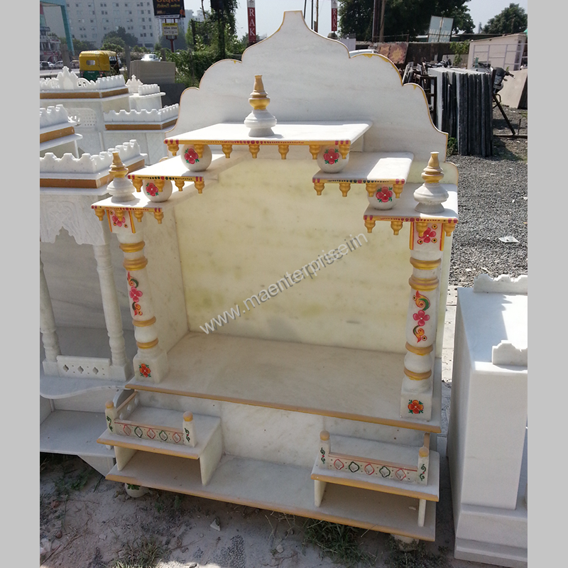 Designer Natural White Indian Marble Mandir for Pooja Room