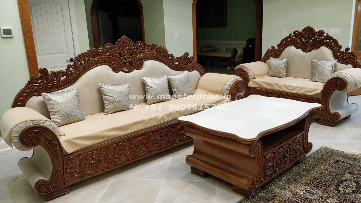 Traditional Indian Wooden Carved Sofa, Carved Wooden Indian Furniture