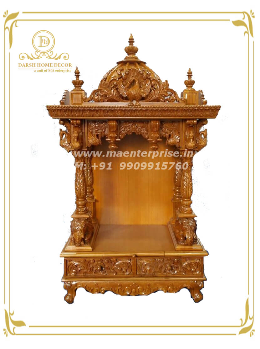 Small Mandir Designs For Usa Home Pooja Made From Africa Teak Wood